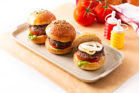 Photo for Food concept Homemade beefs hamburgers serve on square plate on white background with copy space - Royalty Free Image
