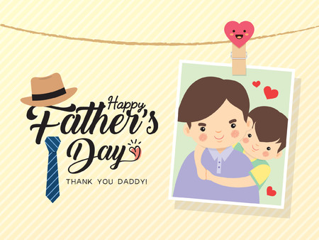 Happy Father's Day template design. Photo of cartoon father and son hugging together. Photo frame with pin and father's day greetings lettering decorated with hat, necktie. Vector illustration.のイラスト素材
