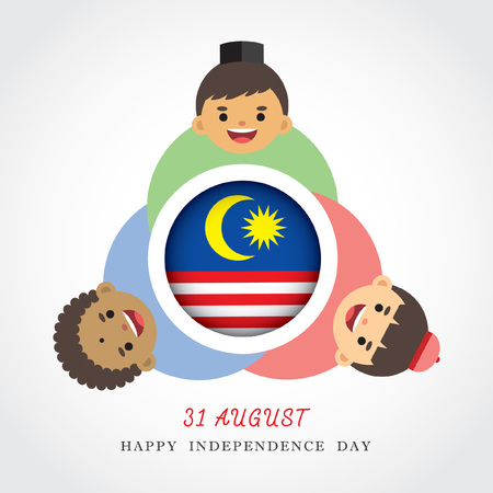 Malaysia National / Independence Day illustration. Cute cartoon character kids of Malay, Indian & Chinese hand in hand with Malaysia flag icon. 31 August, Merdeka.