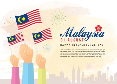 Illustration pour Malaysia Independence Day illustration of citizen with Malaysia flags and city skyline. - image libre de droit