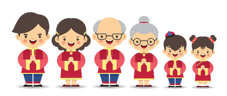 Illustration for Set of cute cartoon chinese family isolated on white background. Chinese new year character in flat vector design. Father, mother, grandfather, grandmother, brother & sister. - Royalty Free Image