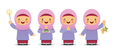 Illustration for Set of cute cartoon muslim girl in different pose isolated on white background. Flat vector design. - Royalty Free Image