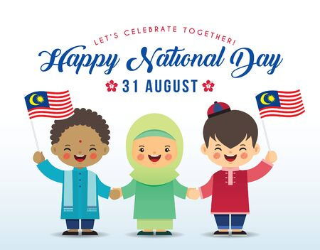 Illustration pour 31 August - Malaysia Independence Day illustration. Cute cartoon kids of Malay, Indian & Chinese holding hands together with Malaysia flag in flat vector design. - image libre de droit