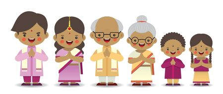 Illustration for Set of cute cartoon indian family isolated on white background. Diwali or deepavali character in flat vector design. Father, mother, grandfather, grandmother, brother & sister. - Royalty Free Image