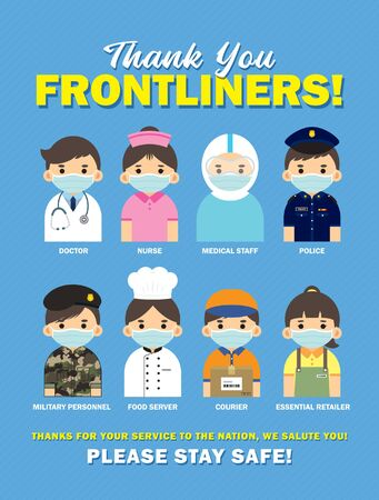 Illustration pour Thank you Frontliners who work for nation during coronavirus (covid-19) outbreak season. Cartoon doctor, nurse, medical staff, police, military personnel, food server, couriers & essential retailer. - image libre de droit
