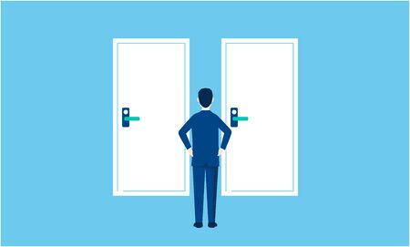 two selections image,businessman standing front two doors,vector illistation,blue background