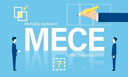 business framework, MECE analysis image, vector illustration, blue background