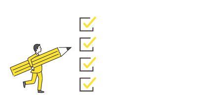 Illustration pour check image,man holding pencil,white isolated,flat illustration - image libre de droit