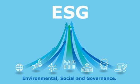 Illustration pour ESG,digital Environmental, Social, and Governance image,icon and rising arrow,blue background - image libre de droit
