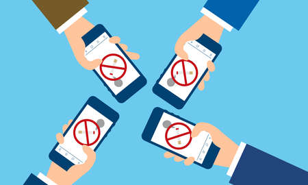Illustration pour People using quit smoking apps,blue background,vector illustration - image libre de droit