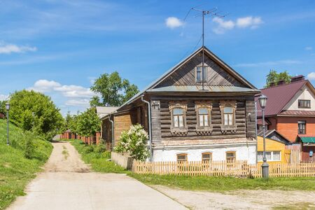 Wooden house on the island of Sviyazhsk in summer, Russia