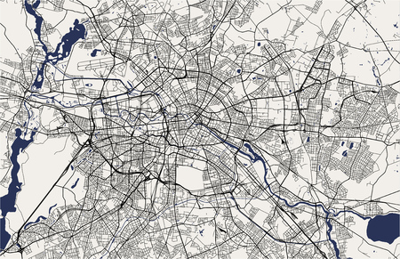 Illustration pour vector map of the city of Berlin, Germany - image libre de droit