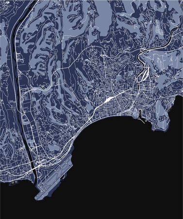 vector map of the city of Nice, Provence-Alpes-Cote dAzur, Alpes-Maritimes, French Riviera, France