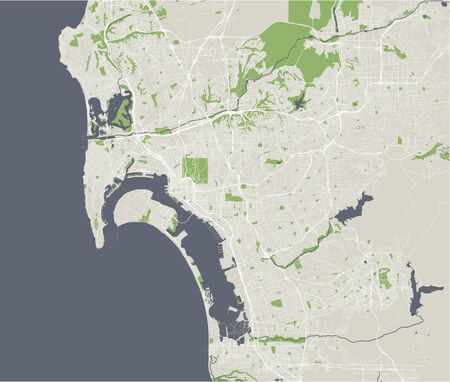 vector map of the city of San Diego, California, USA ...
