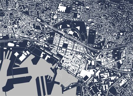 vector map of the city of Toulon, Var, Provence-Alpes-Cote dAzur, France