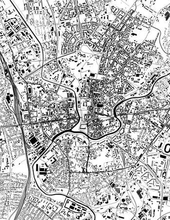 Illustration pour map of the city of Kharkiv, Ukraine - image libre de droit