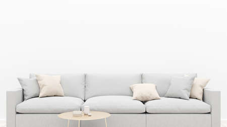 Photo pour Living room interior with a gray sofa, pillows and a coffee table. White empty wall. 3D render. - image libre de droit