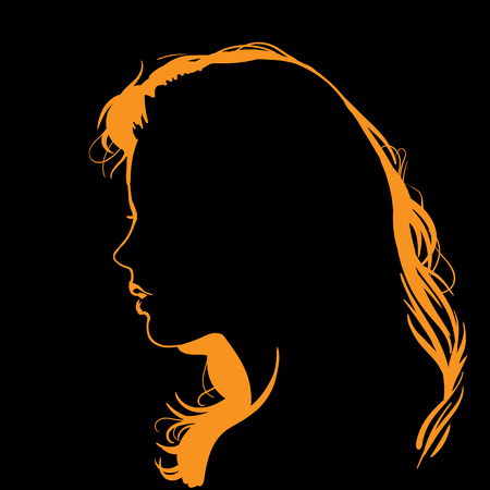 Illustration for Woman face silhouette in backlight. - Royalty Free Image