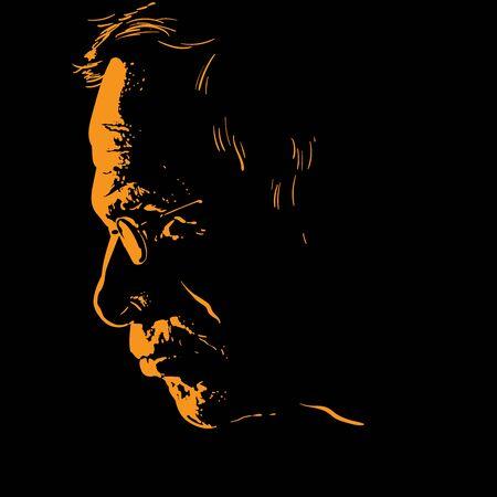 Illustration pour Old man with glasses portrait silhouette - image libre de droit
