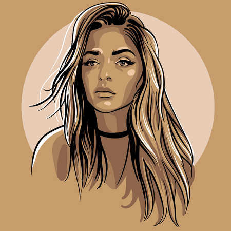 Illustration for Beautiful girl portrait. Cartoon style. Digital sketch hand drawing vector. Illustration. - Royalty Free Image