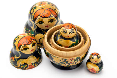 Photo pour Traditional Russian doll on white isolated background - image libre de droit