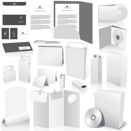 Vector blank packing collection. Set of white paper packaging and stationery elements. Dummies set to place your design on