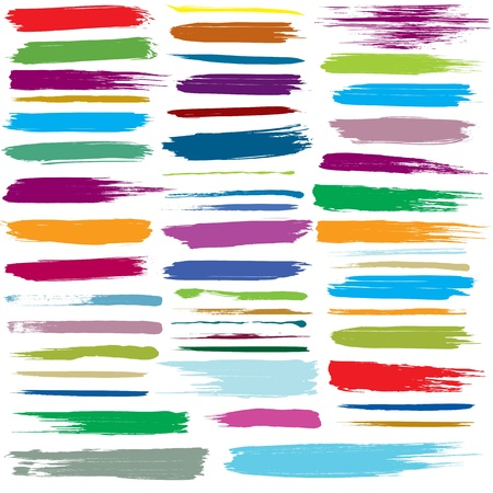 set of colorful brush strokes.