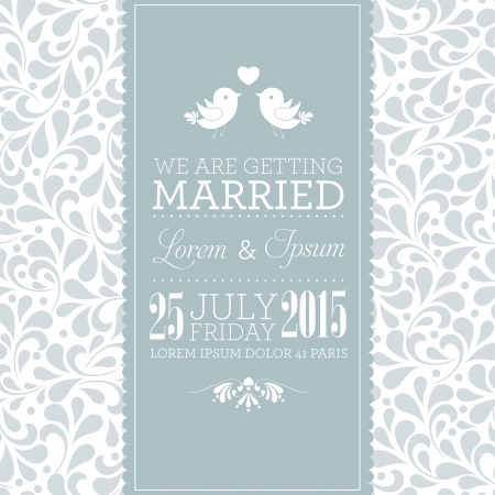 Wedding card or invitation with floral ornament background  Perfect as invitation or announcement
