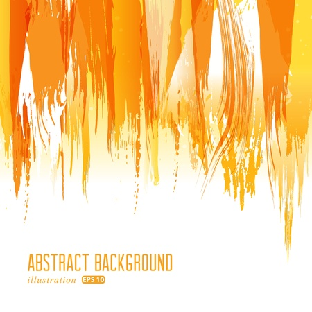 Orange abstract hand-painted brush stroke daub background