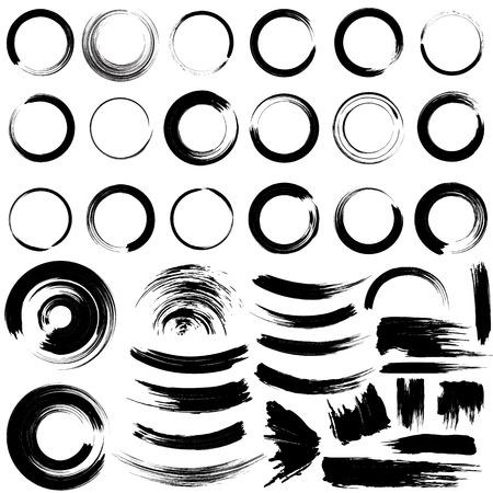 Set of grunge circle brush strokes.
