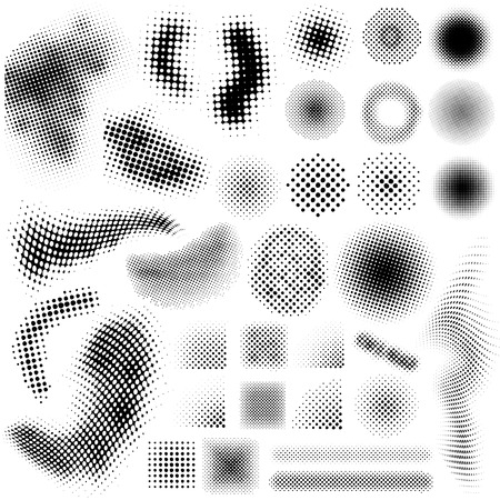 Illustration for Collection set of different abstract halftone art elements - Royalty Free Image