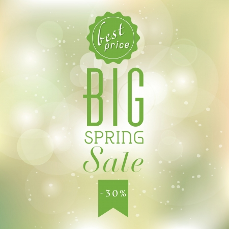 Spring sale poster with glittery lights silver elegant background.