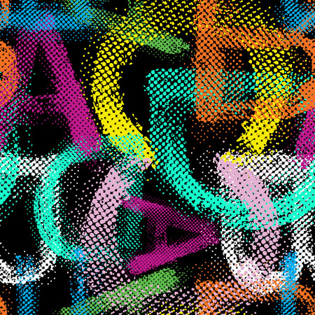 Grunge halftone alphabet seamless background.