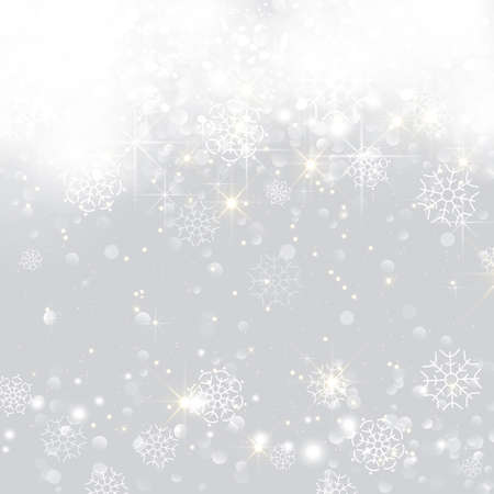 Illustration for Glittery lights silver abstract Christmas background. - Royalty Free Image