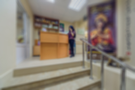 Blurred background of the interior. Office of the center for traditional Chinese medicine