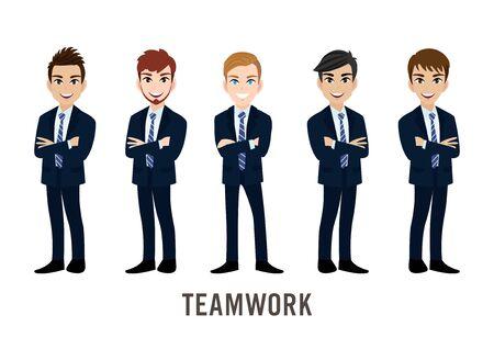 Illustration pour Cartoon character with businessman, teamwork concept design. Flat vector illustration. - image libre de droit