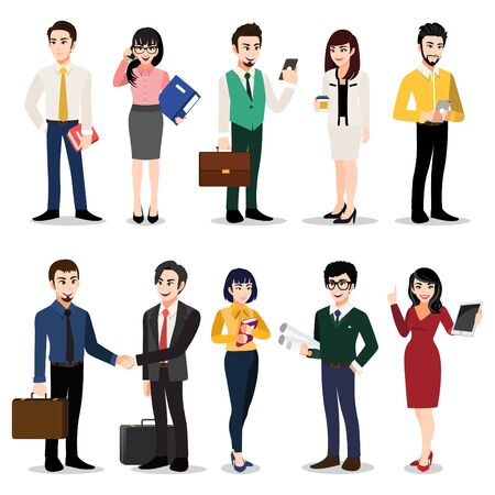 Illustration for Cartoon character with set of business people. Men and women in office clothes. Colorful flat icon illustration vector - Royalty Free Image