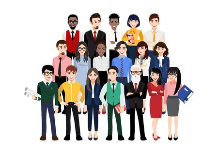 Illustration for Cartoon character with modern business team. Vector illustration of diverse business people and company members, standing behind each other. Isolated on white. - Royalty Free Image