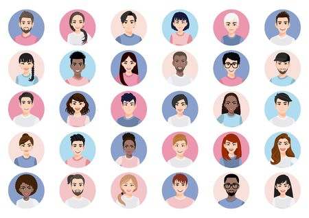 Illustration pour Big bundle of different people avatars. Set of male and female portraits. Men and women avatar characters. User pic, face icons for representing person in a video game, Internet forum, account. Vector - image libre de droit