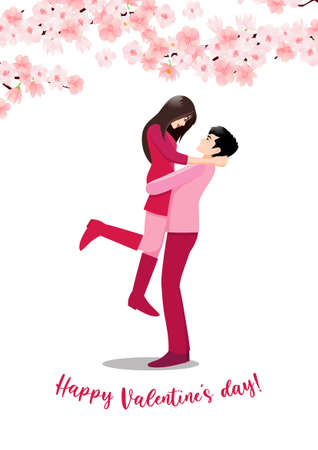 Illustration pour Cartoon character with a couple standing together on white background and flower decorate. Valentine s Day festival vector illustration - image libre de droit