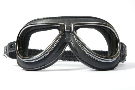 Black retro leathern goggles for motorcyclist