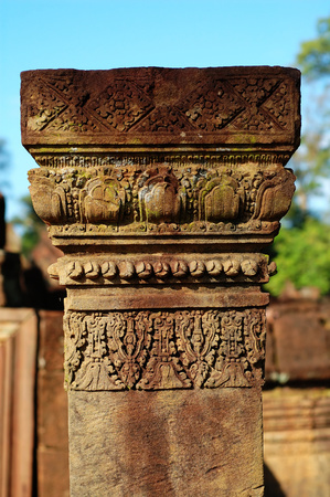 Detail of carving on boundary stone at Banteay Sreiz, Cambodia