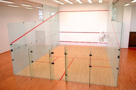 The squash court formed with glass wall