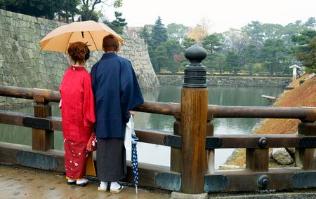 The back view of Japanese couple dressing traditional Kimono