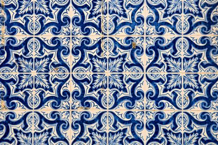The abstract pattern of Portuguese painted tiles with interesting designs