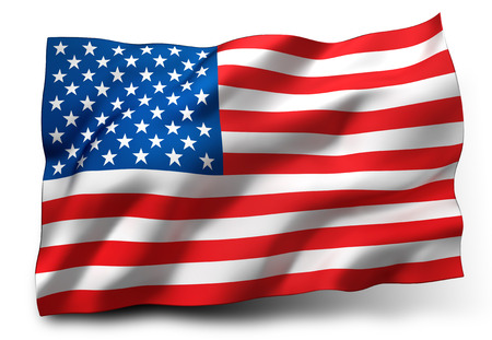 Waving flag of the United States isolated on white background