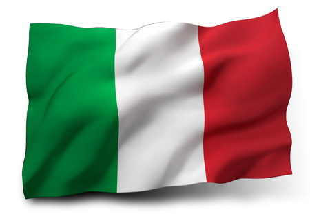 Waving flag of Italy isolated on white background