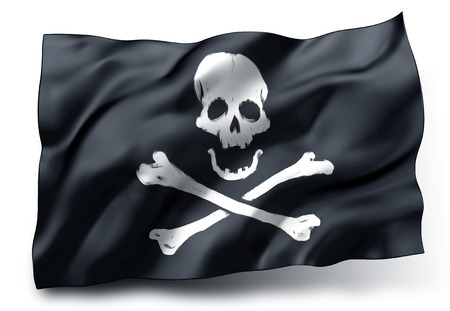 Waving black pirate flag with skull and crossbones symbol isolated on white background