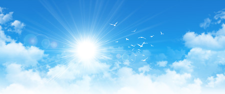 Photo pour Panoramic cloudscape. High resolution blue sky background. Sun and birds breaking through white clouds - image libre de droit