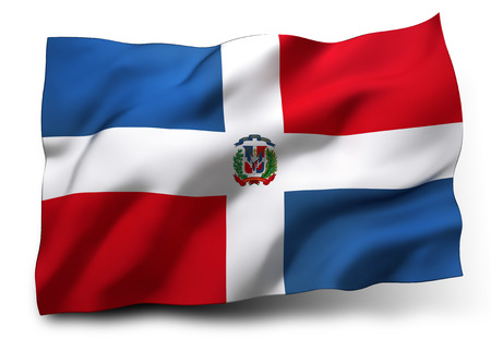Waving flag of Dominican Republic isolated on white background